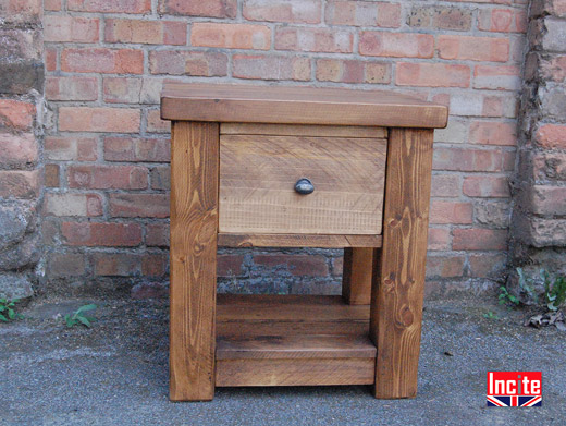 Solid Rustic Pine Bedside with Shelf