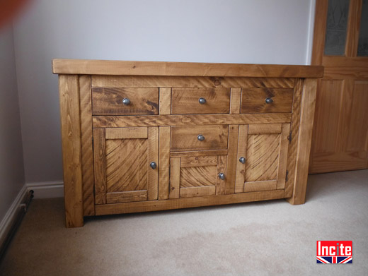 Rustic Chunky Plank Pine Sideboard