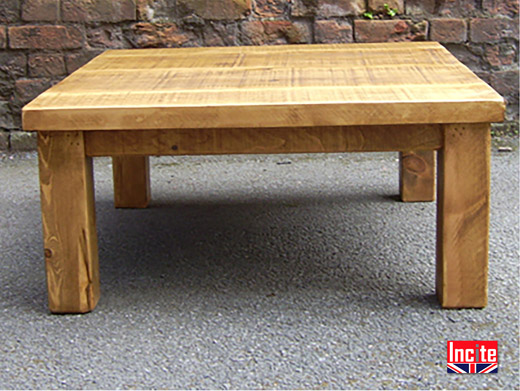 "Rustic Plank Pine Coffee Table 2"" Top and 4"" legs"