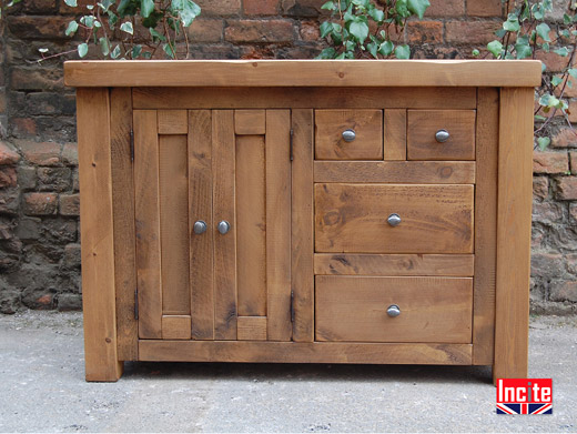 Chunky Plank Pine Combination Sideboard