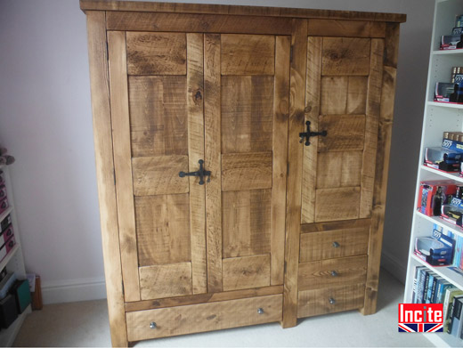 Plank Pine Wardrobe And Drawer Combination