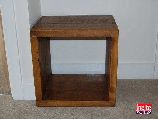 Solid Plank Pine Cube Side Table