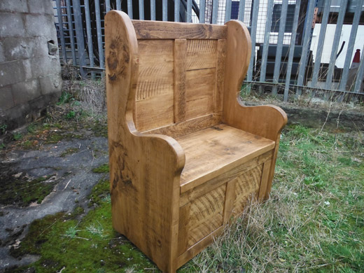 Solid Pinewood Monks Bench With Arms