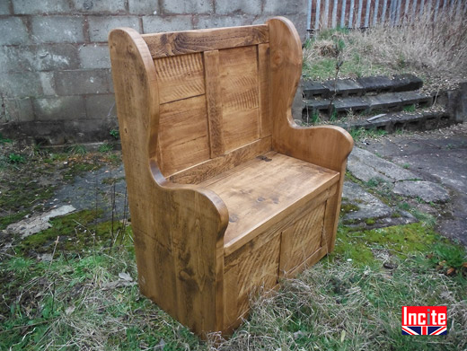 Solid Pine Monks Bench With Arms