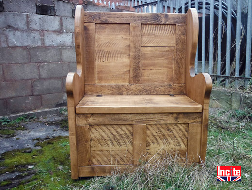 Rustic Wooden  Monks Bench With Arms