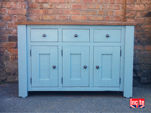 Rustic Pine Painted Blue Cabinet