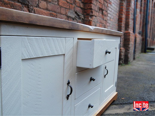 Plank Pine White Painted Rustic Dresser Base