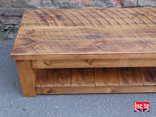 Rustic Pine Shelved Occasional Table