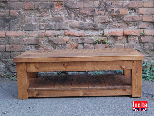 Handmade Rustic Chunky Plank Coffee Table With Shelf