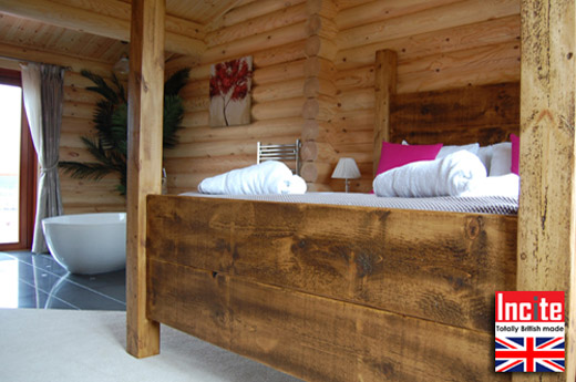 Rustic Solid Wood Four Poster Bed