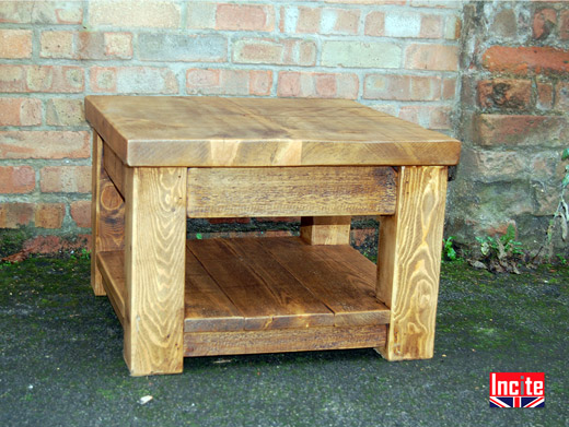 Handmade Plank Pine Coffee Table with Shelf