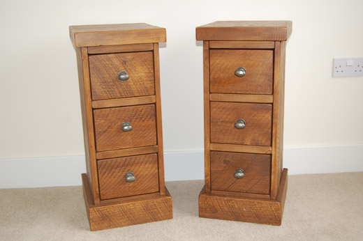 3 Drawer Plank Pine Bedside Table