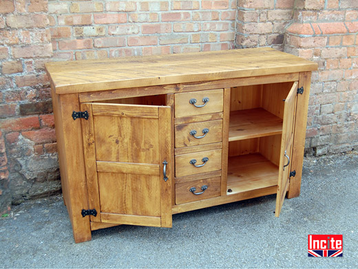 Solid Plank Pine Wood Sideboard