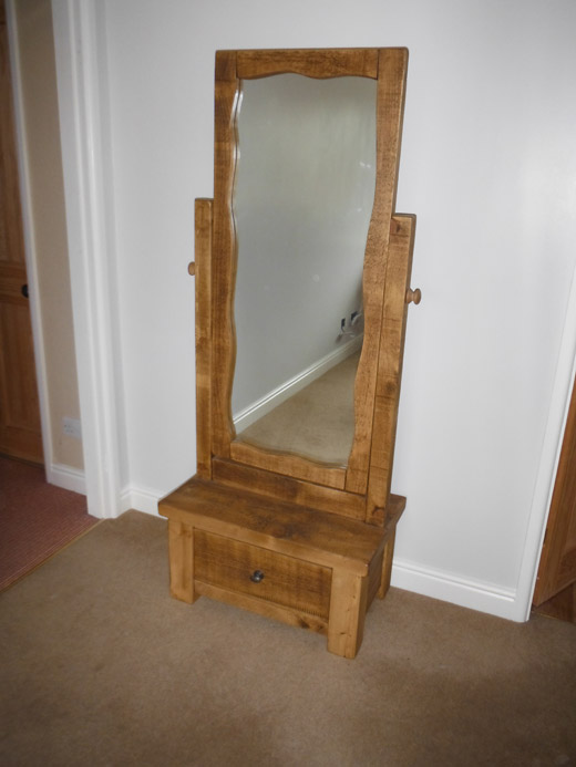 Rustic Plank Pine Cheval Mirror
