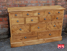 Rustic handmade chunky Plank 14 drawer Chest of Drawers