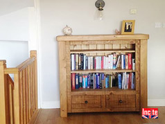 Chunky Plank Pine Bookcase with drawers handmade