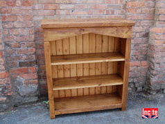 Rustic Pine Arched Bookcase