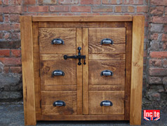 British handmade bespoke Rustic Chunky Plank Pine Dining Furniture, Bookcases, Sideboards, Tables And Chairs, Oak , Walnut, Beech, Pine And Painted Furniture Custom made By incite Interiors Derbyshire