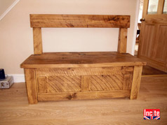 Handcrafted Wooden Monks Bench with Storage