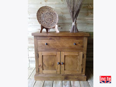 Chunky Plank Pine 2 Door 1 Drawer Sideboard on Plinth