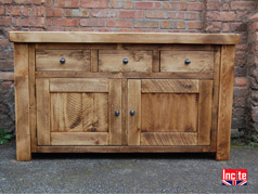 Chunky Plank Pine 3 Drawer 2 Door Bedside Cabinet