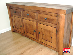 Rustic Plank Pine 3 Door 3 Drawer Sideboard