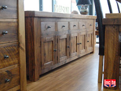 "Rustic Plank Pine Sideboard With 3"" Top handmade"