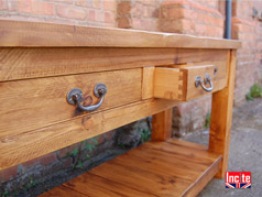 Rustic Plank Pine Hall Way Table with Drawers