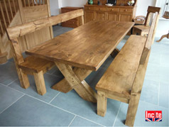 Plank Pine Crossed Leg Dining Table