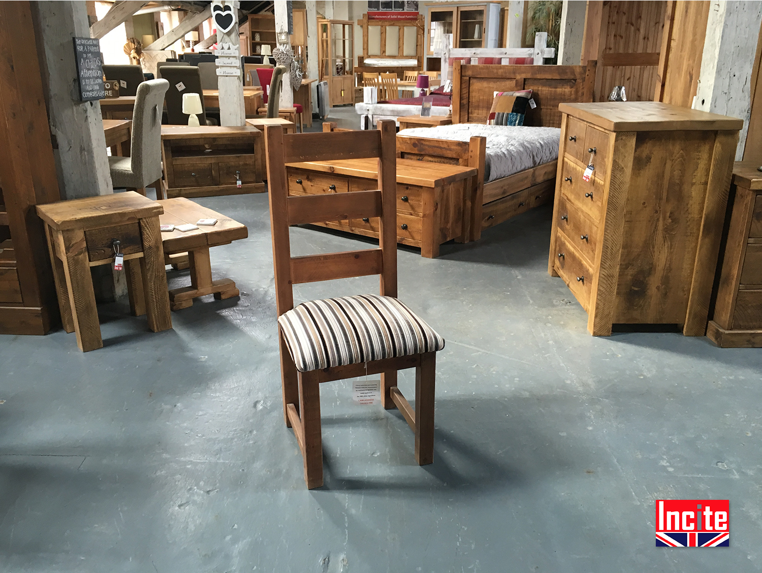 Handcrafted plank pine upholstered chair by incite derby