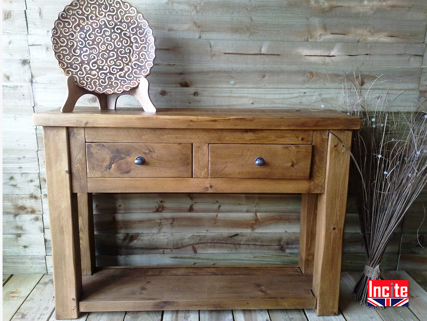 pine console table. Plank-PIne-Console-Table-3 Pine Console Table