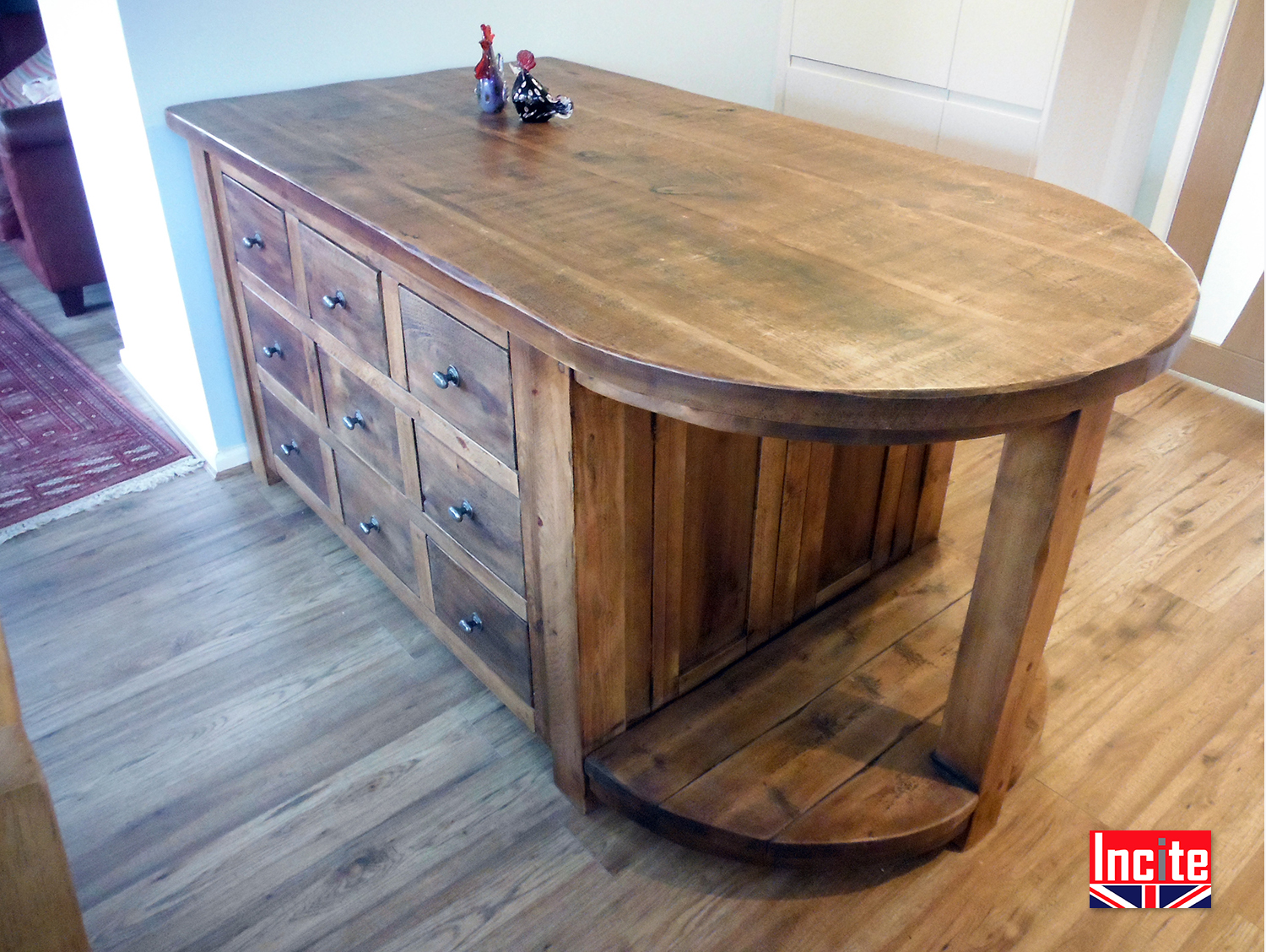 Bespoke kitchen island custom made for you by incite derby for Curved kitchen units uk