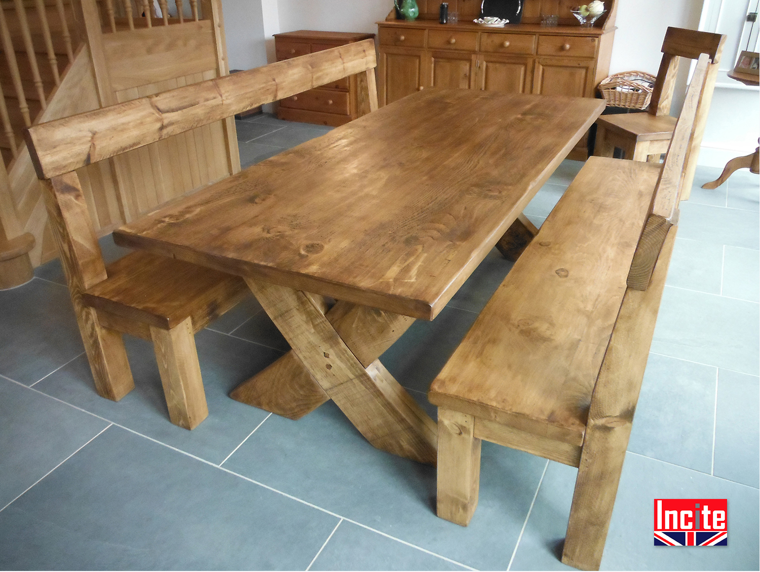 Completely new Derbyshire Handcrafted Plank Crossed Leg Table by Incite RG72